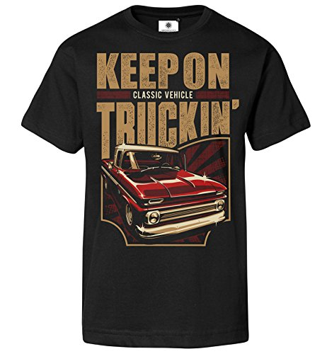 Bedrucktes Herren Oldtimer Pickup T-Shirt Keep on Trucking (L, Schwarz) -