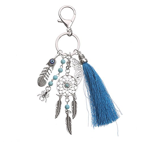 Women Bohemian Key Chain Turquoise Leaf Pendant Decoration Key Ring with Yarn Tassels