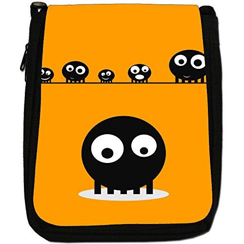 Blob Faces-Borsa a tracolla in tela, colore: nero, taglia: M Nero (Orange Blob Faces)