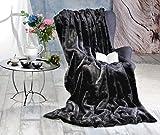 Premium Felldecke Zobel schwarz 170x220cm aus Webpelz