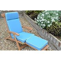 Chaise longue de jardin avec coussin à rembourrage de première qualité et tissu uniquement-Coussin-Bleu clair