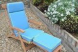 Luxus Garten-Liegestuhl Auflage mit Premium-Füllung Hellblau - Kissen NUR