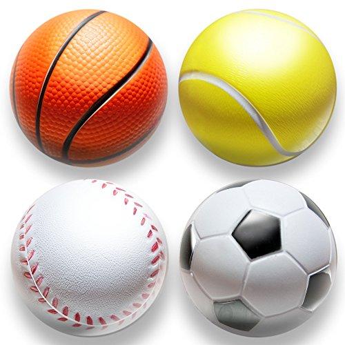 deloono | 4Stk | Stressball im Mini Sportball Design | 6,35cm | Antistressbälle Stressbälle in Mehreren Härtegraden Stress Balls auch als Mitgebsel fürs Büro oder Kindergeburtstag (Sport) - Stress-bälle Emojis