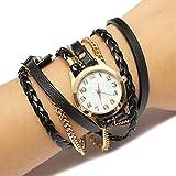 Montre Bracelet Charme Vintage Weave chaîne en cuir Bracelet Femmes bijoux Noël Cadeaux