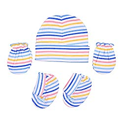 132 New Born Baby Premium Quality Cotton Cap, Mittens and Socks   0-6 Months (Blue)