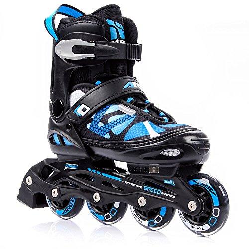 Patines en línea Meteor para mujer hombre y niños disponibles en azul y rosa Gama de patines ABEC7 con ruedas de carbono y forro interior talla ajustable Area (L 38-41, Azul)