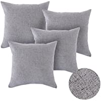 Deconovo Set of 4 Square Throw Pillow Case Cushion Protectors Faux Linen Cushion Covers for Sofa with Invisible Zipper 18x18 Inch 45cm x 45cm Neutral Grey