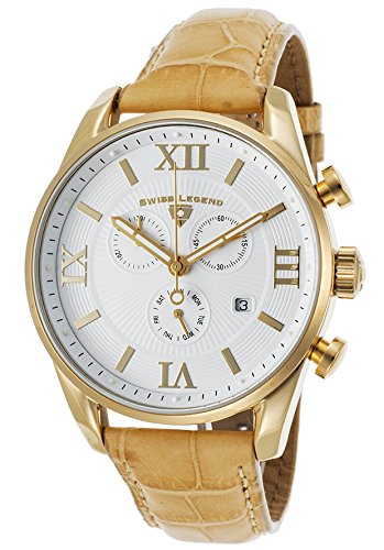 Swiss Legend 22011-YG-02-ABT09M Bellezza Chronograph Beige Leather Strap White Dial Gold-Tone Stainless Steel Men's Quartz Watch