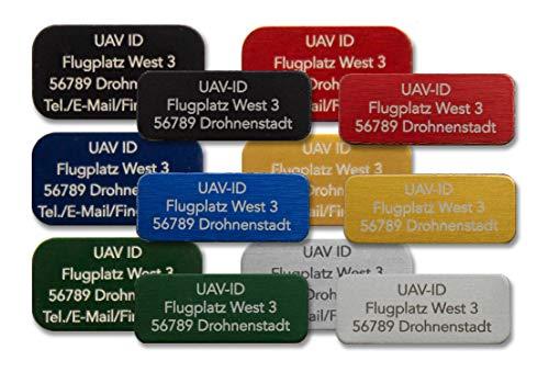 UAV-ID - extra kleines Drohnen-Kennzeichen, 20x8mm oder 20x11mm, 3 oder 4 Zeilen, winzige Plakette, Namensschild für Quadrocopter, Aluminium eloxiert, hochwertige Laserbeschriftung (Silber 4 Zeilen)