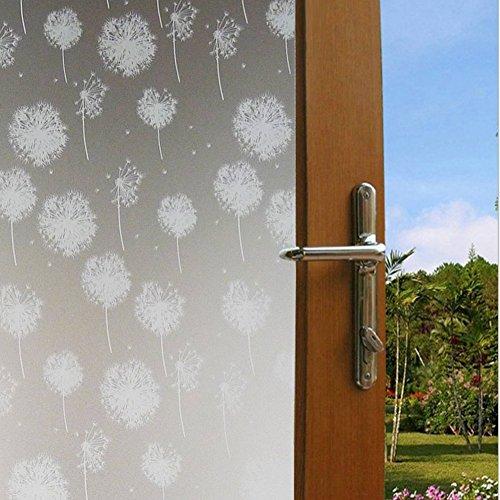 DODOING 45x200cm Statische Fensterfolie Dekorfolie Sichtschutzfolie Fensterschutzfolie Selbsthaftend Anti-UV,Löwenzahn Blume