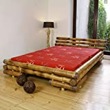 Lit avec sommier à lattes en bambou brun, Dim: 160 x 200 cm -PEGANE-