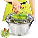 Essoreuse à salades en inox grande modèle - Séchoir a laitue avec pince de service GRATUITES, sèche rapidement, base antidérapante, récipient lavable au lave-vaisselle avec panier & levier à poignée-poussoir par PYKAL