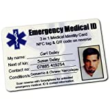 Emergency Medical ID Wallet Card. 3 in 1. Smartphone Compatible Contactless Holds UNLIMITED Emergency ID, Contact and Me