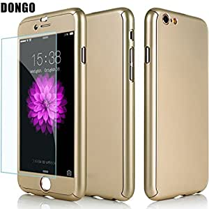 Aart New Style ultra thin 360 Degree full protection + Tempered Glass For Apple 4.7 Inch for I Phone 6/6S- Gold
