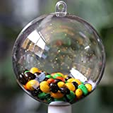 """Yontree Plastic Hollow Ball Wedding Party Ornament Clear Candy Box Christmas Tree Decoration Set of 5 Round Shape Dia 3.15"""""""
