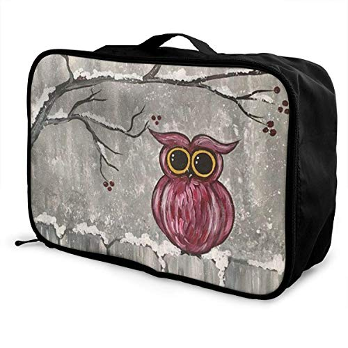 Portable Luggage Duffel Bag The Owl In The Snow Travel Bags Carry-on In Trolley Handle