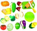 #5: Happy GiftMart Realistic Sliceable 13 Pcs Fruit and Vegetables Cutting Play Toy Chopping Cutter Set with Velcro (Vegetable)