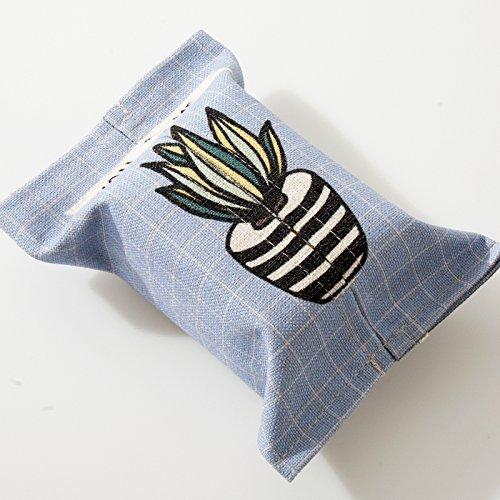 TISZJHU Handgemachte Tuch Baumwolle und Leinen Tissue Box Cartoon Fleischigen Tissue Box Paket Halle Badezimmer Pumpen Tissue Pumping, C Blue Grid topfpflanzen