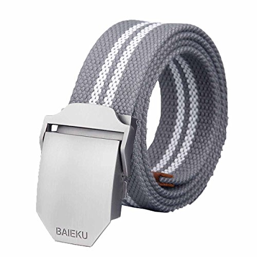 GEXING Belt Male Smooth Canvas Buckle Belt Male Automatic Buckle Belt
