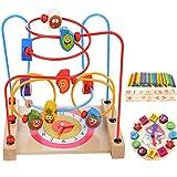 Muitobom Bead Maze - Wooden Baby Toddler Toys Set, Roller Coaster Activity Cube Teaching Clock Educational Toy Boys Girls Gift