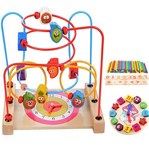 MUITOBOM Legno Giocattoli Labirinto Perline, Perle in Legno per Bambini Cerchio Perline Labirinto Giocattolo Giocattolo Perline di Legno Roller Coaster Gioco per Bambini 3 Anni Ragazza