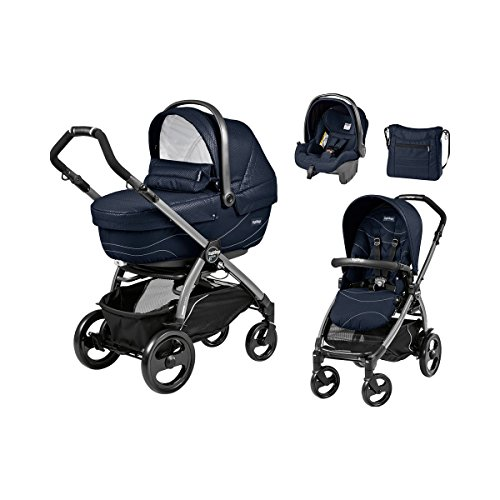 PEG-PÉREGO Book 51 XL Kombikinderwagen Trio-Set mit Wickeltasche Design 2017 Baby, Bloom navy, Gestell jet