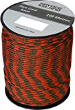 100m Reel Paracord Army Camping for Tent Basha Bivi Shelter Buidling Hammock Gardening Bushcraft in Green, Black, Coyote and Red Colours (Olive Green / Red)