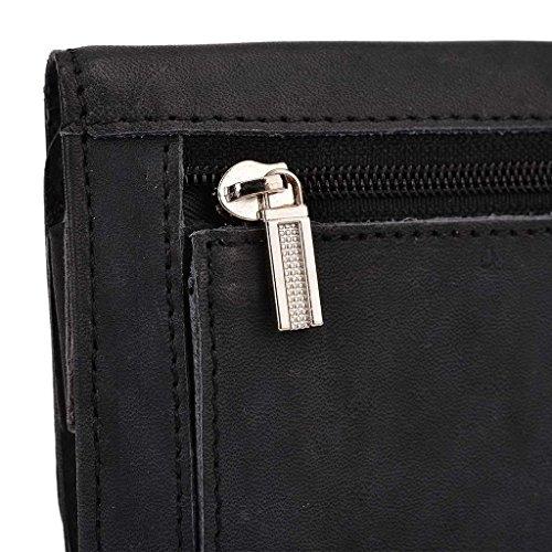 Kroo Pochette en cuir véritable pour téléphone portable pour Allview P7Bouddhisme) Marron - peau noir - noir
