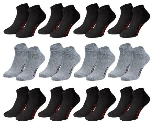Men's Fashion Lounge Unisex - Sneakersocken Sport Kurze Socken für Training und Freizeit mit 70% Baumwolle (39-42/12 Paar, 8schwarz+4grau)
