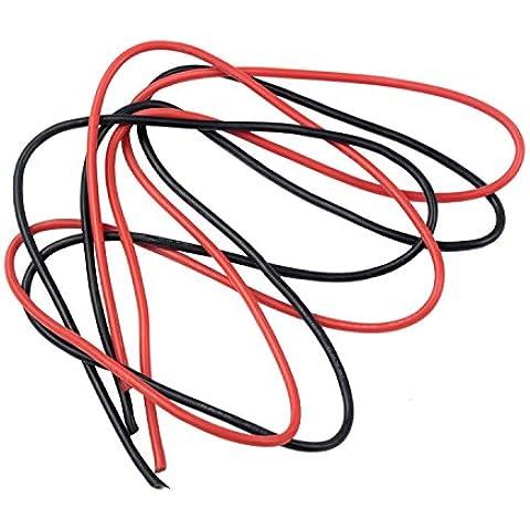 niceEshop (TM) calibro 161m–Cavo in Silicone, Fine Filo, 16AWG, colore: nero e rosso