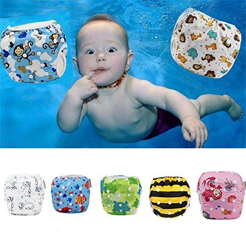 Sijueam Schwimmwindel Waschbar Mehrwegwindeln Baby Diapers Wasserdicht Windelhosen Unisex Einheitsgröße Einstellbar Badeshorts Leakproof Wassersport Bademode – Blue Monkey - 3