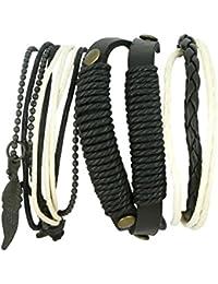 Schwarz und weiß indisches Perlenschnur-Lederarmband für Männer - Lederarmband im Layered-Wrap-Stil für Männer - Armband