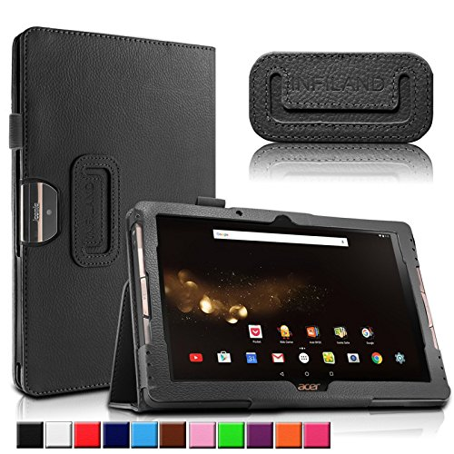 Acer Iconia One 10 B3-A30/A3-A40 Hülle, Infiland Slim Fit Folio PU-lederne dünne Kunstleder Schutzhülle Cover Tasche für Acer Iconia Tab 10 (A3-A40) 25,6 cm (10,1 Zoll Full HD) Tablet-PC/ Acer Iconia One 10 (B3-A30) 25,7 cm (10,1 Zoll HD) Tablet-PC(Schwarz)