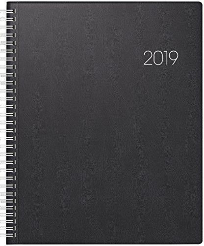Brunnen 107610190 Buchkalender Manager Wt 7 - weektimer, 2 Seiten = 1 Woche, 210 x 260 mm, Kunststoff-Einband schwarz, Kalendarium 2019, Wire-O-Bindung