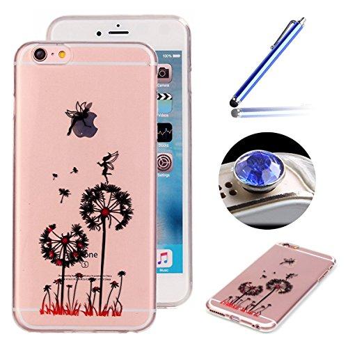 Etsue pour Apple iPhone 6 Plus/iPhone 6S Plus 5.5 Case Cover,Ultra-minces Rim est transparent Frais Doux TPU Coque Housse pour Apple iPhone 6 Plus/iPhone 6S Plus 5.5,Colorful Soft Silicone Case Etui s Pissenlit