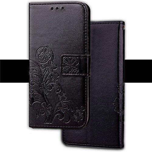 Caler Tasche Kompatibel für Xiaomi Mi Pocophone F1 Hülle Außenseite aus Echt Leder Innenseite aus Textil Magnet Schutz Case Ständer mit Kartenfach Ultra Slim Cover Bookstyle Klappbar