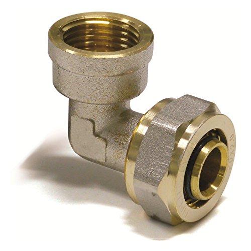 Pipetec Schraubfitting Winkel Übergang 16x2 mm 90° 3/4 Innengewinde für Mehrschicht-Verbundrohr, DVGW, UBA-konform, bis max.100°C -