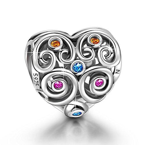 NinaQueen Amor eterno Abalorio de mujer de plata de ley Charms beads...