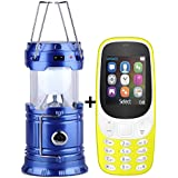 IKALL K3310 (Yellow) Dual Sim 1.8 Inch Display Mobile With Solar Powered LED Rechargeable Lantern (Blue)