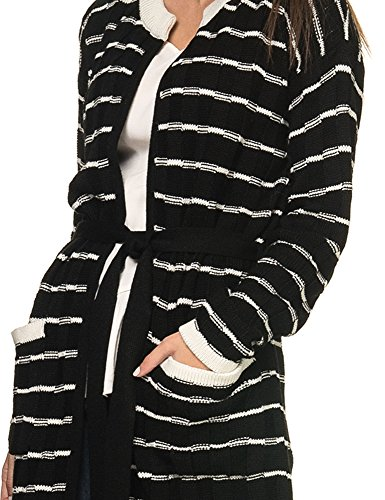 Aggel Knitwear Womens Womens Ivory-Black Knitted Cardigan Acrylic Black