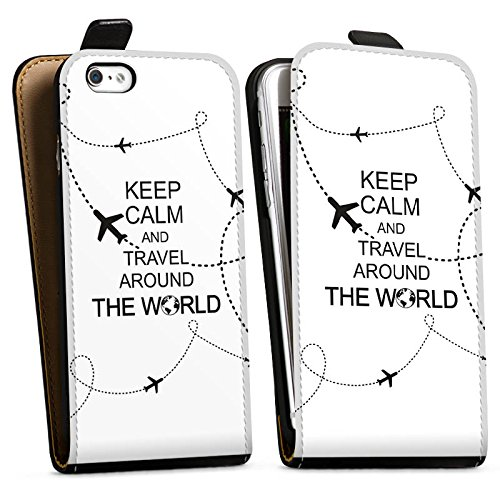 Apple iPhone X Silikon Hülle Case Schutzhülle Reisen Travel Keep Calm Downflip Tasche schwarz