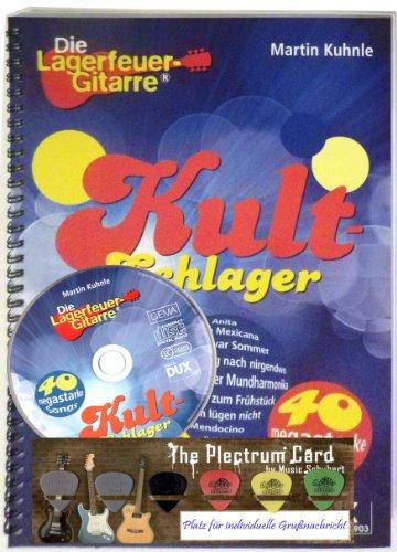 KULT-SCHLAGER 40 megastarke Songs für Gitarre (aus der Serie Die Lagerfeuer-Gitarre) + CD und 6er DUNLOP-NYLON Plektrum-Card von Musik-Schubert