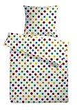 Carpe Sonno Biber Bettwäsche-Set Bubbles 155 x 220 cm Weiß bunt gepunktet - Bettdecke und Kopfkissen-Bezug aus Flanell-Baumwolle mit Reißverschluss, Kuschelig warm im Winter - Feinbiber Bett-Bezug
