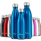 Proworks Edelstahl Trinkflasche | 24 Std. Kalt und 12 Std. Heiß - Premium Vakuum Wasserflasche - Perfekte Isolierflasche für Sport, Laufen, Fahrrad, Yoga, Wandern und Camping - 750ml - Blau
