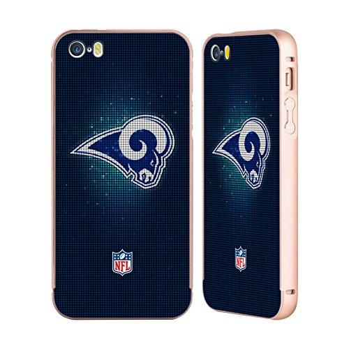 Ufficiale NFL Marmo 2017/18 Los Angeles Rams Oro Cover Contorno con Bumper in Alluminio per Apple iPhone 5 / 5s / SE LED