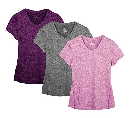 icyzone Damen Sport Fitness T-Shirt Kurzarm V-Ausschnitt Laufshirt Shortsleeve Yoga Top 3er Pack (XL, Charcoal/Red Bud/Pink)