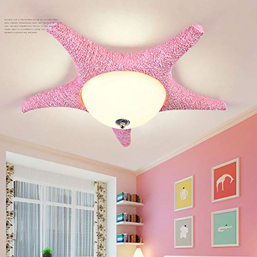 SXFYWYM Cartoon Deckenleuchte LED Kreative Seesterne dimmbare Kronleuchter für Kinder Schlafzimmer Kindergarten,Pink,Threecolor60x15cm - Kupfer Rustikal Kronleuchter