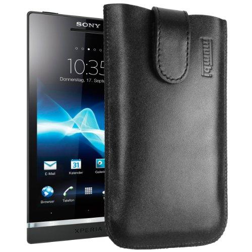 mumbi ECHT Ledertasche für Sony Xperia S Tasche (Lasche mit Rückzugfunktion) schwarz (Rindleder-leder-tasche Kurze)