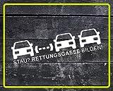 Dinger-Design Aufkleber Stau? RETTUNGSGASSE BILDEN! Feuerwehr, Rettungsdienst, Polizei, THW (Weiß, 80 x 20 cm)