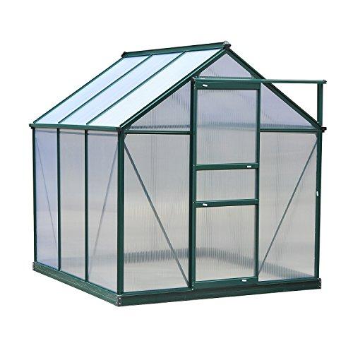Outsunny Serre de Jardin Aluminium Polycarbonate 3,65 m² dim. 1,9L x 1,92l x 2,01H m Lucarne, Porte coulissante + Fondation Incluse alu. Vert Polycarbonate Transparent